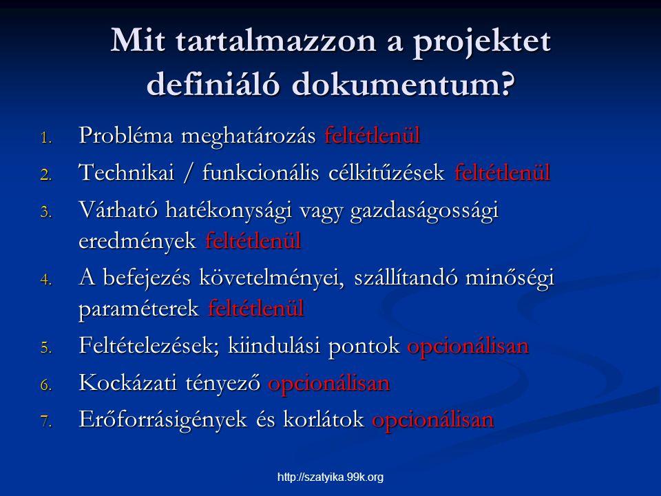 Mit tartalmazzon a projektet definiáló dokumentum? 1. Probléma meghatározás feltétlenül 2. Technikai / funkcionális célkitűzések feltétlenül 3. Várhat
