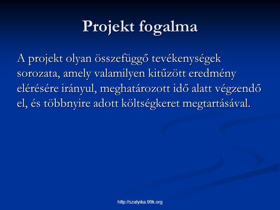 Projekt fogalma A projekt olyan összefüggő tevékenységek sorozata, amely valamilyen kitűzött eredmény elérésére irányul, meghatározott idő alatt végze