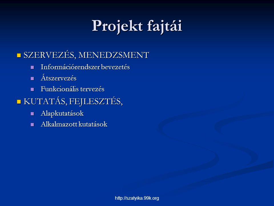 Projekt fajtái SZERVEZÉS, MENEDZSMENT SZERVEZÉS, MENEDZSMENT Információrendszer bevezetés Információrendszer bevezetés Átszervezés Átszervezés Funkcio