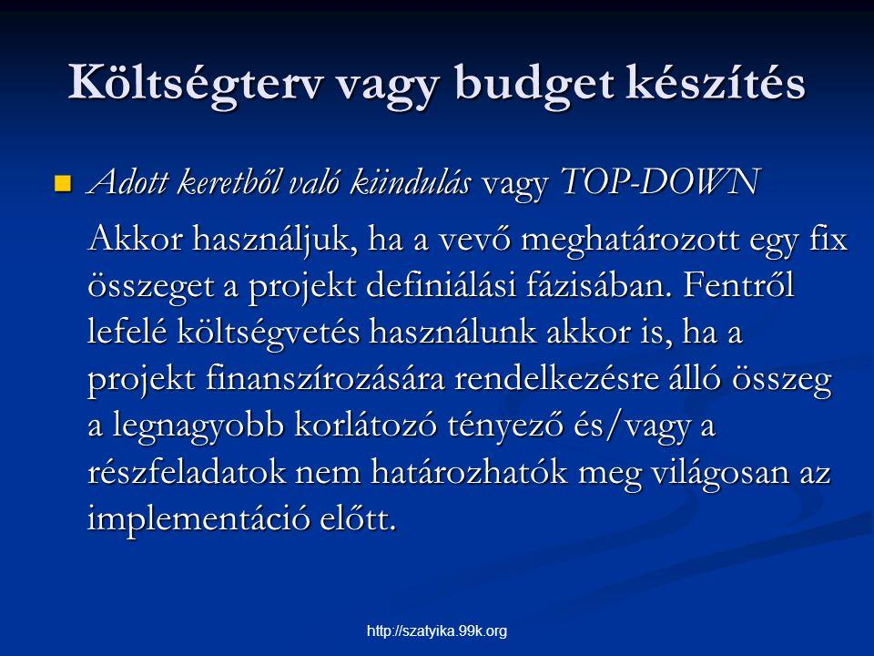Költségterv vagy budget készítés Adott keretből való kiindulás vagy TOP-DOWN Adott keretből való kiindulás vagy TOP-DOWN Akkor használjuk, ha a vevő m