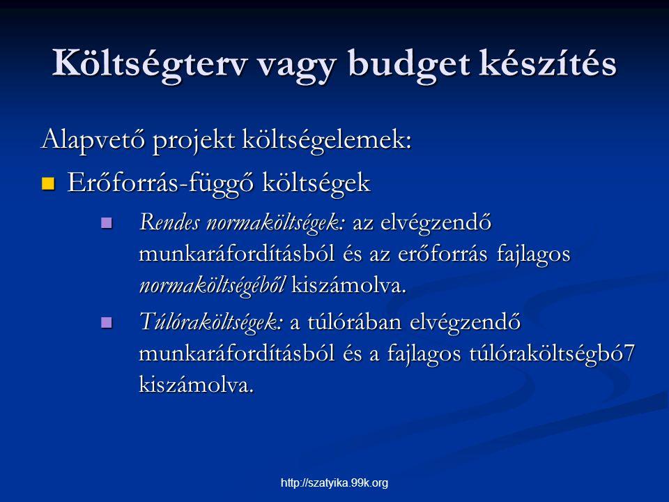 Költségterv vagy budget készítés Alapvető projekt költségelemek: Erőforrás-függő költségek Erőforrás-függő költségek Rendes normaköltségek: az elvégze