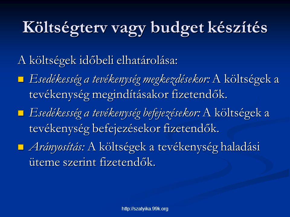 Költségterv vagy budget készítés A költségek időbeli elhatárolása: Esedékesség a tevékenység megkezdésekor: A költségek a tevékenység megindításakor f