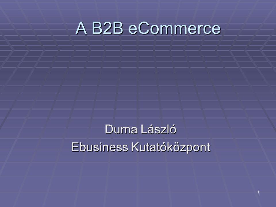 1 A B2B eCommerce A B2B eCommerce Duma László Ebusiness Kutatóközpont