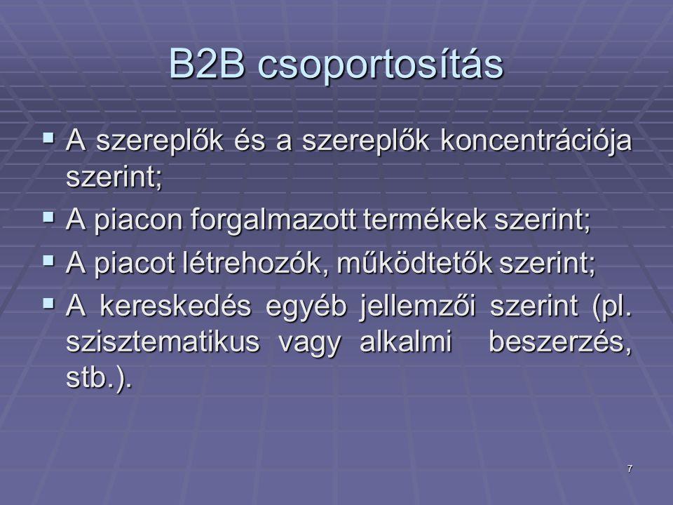 7 B2B csoportosítás  A szereplők és a szereplők koncentrációja szerint;  A piacon forgalmazott termékek szerint;  A piacot létrehozók, működtetők szerint;  A kereskedés egyéb jellemzői szerint (pl.