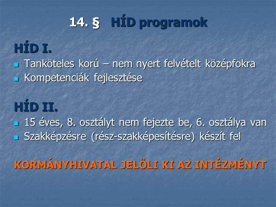 14.§ HÍD programok HÍD I.