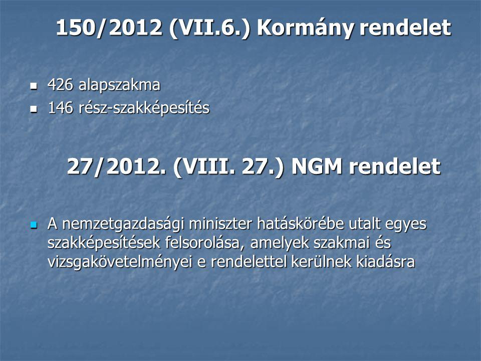 150/2012 (VII.6.) Kormány rendelet 426 alapszakma 426 alapszakma 146 rész-szakképesítés 146 rész-szakképesítés 27/2012.