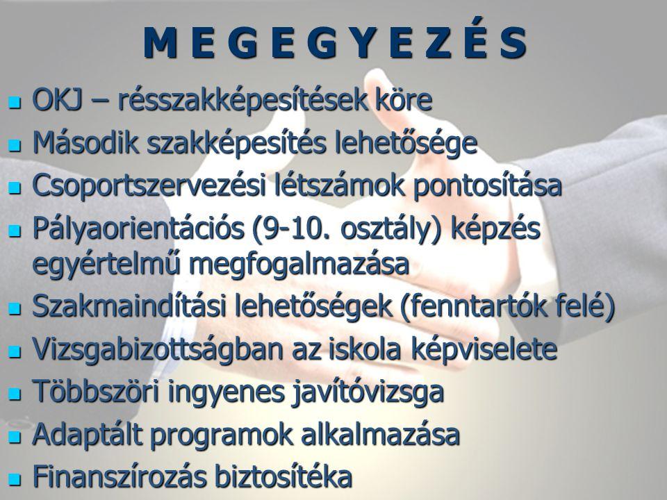 M E G E G Y E Z É S OKJ – résszakképesítések köre Második szakképesítés lehetősége Csoportszervezési létszámok pontosítása Pályaorientációs (9-10.