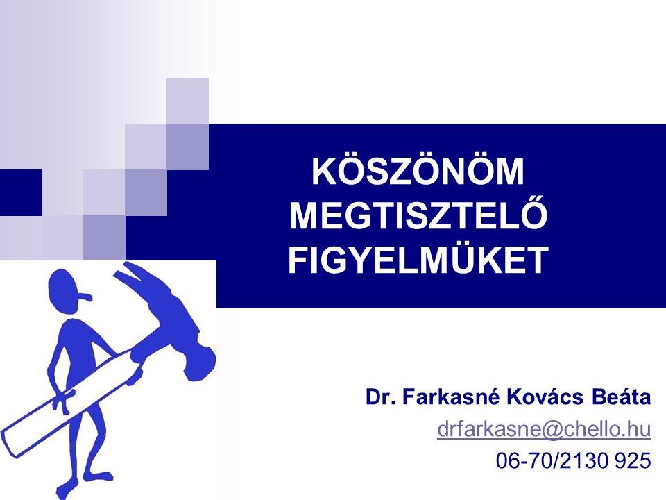 KÖSZÖNÖM MEGTISZTELŐ FIGYELMÜKET Dr. Farkasné Kovács Beáta drfarkasne@chello.hu 06-70/2130 925