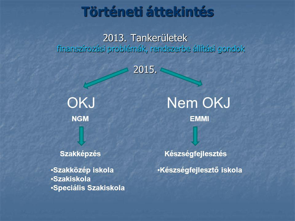 Történeti áttekintés 2013.Tankerületek finanszírozási problémák, rendszerbe állítási gondok 2015.