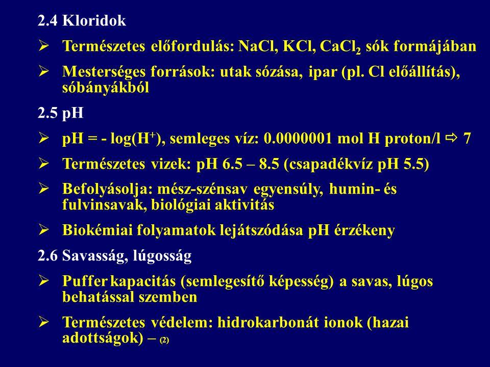 2.4 Kloridok  Természetes előfordulás: NaCl, KCl, CaCl 2 sók formájában  Mesterséges források: utak sózása, ipar (pl. Cl előállítás), sóbányákból 2.