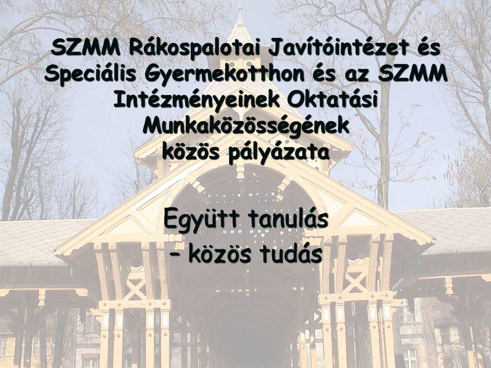 SZMM Rákospalotai Javítóintézet és Speciális Gyermekotthon és az SZMM Intézményeinek Oktatási Munkaközösségének közös pályázata Együtt tanulás – közös tudás