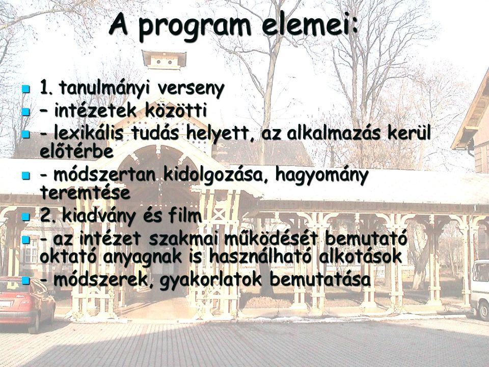 A program elemei: 1. tanulmányi verseny 1.
