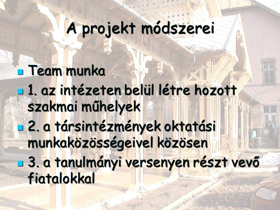A projekt módszerei Team munka Team munka 1. az intézeten belül létre hozott szakmai műhelyek 1.