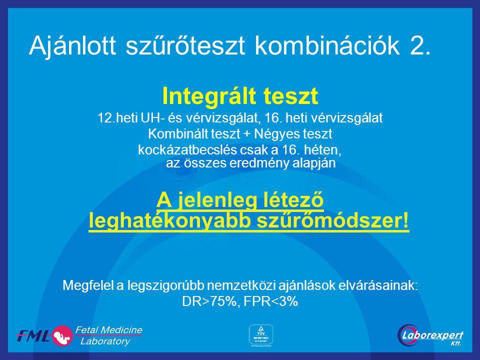 Ajánlott szűrőteszt kombinációk 2. Integrált teszt 12.heti UH- és vérvizsgálat, 16. heti vérvizsgálat Kombinált teszt + Négyes teszt kockázatbecslés c