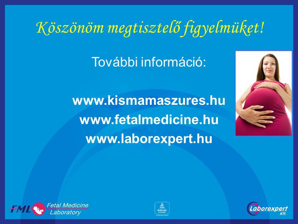 Köszönöm megtisztelő figyelmüket! További információ: www.kismamaszures.hu www.fetalmedicine.hu www.laborexpert.hu