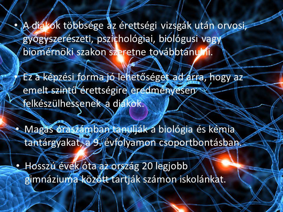A diákok többsége az érettségi vizsgák után orvosi, gyógyszerészeti, pszichológiai, biológusi vagy biomérnöki szakon szeretne továbbtanulni. Ez a képz