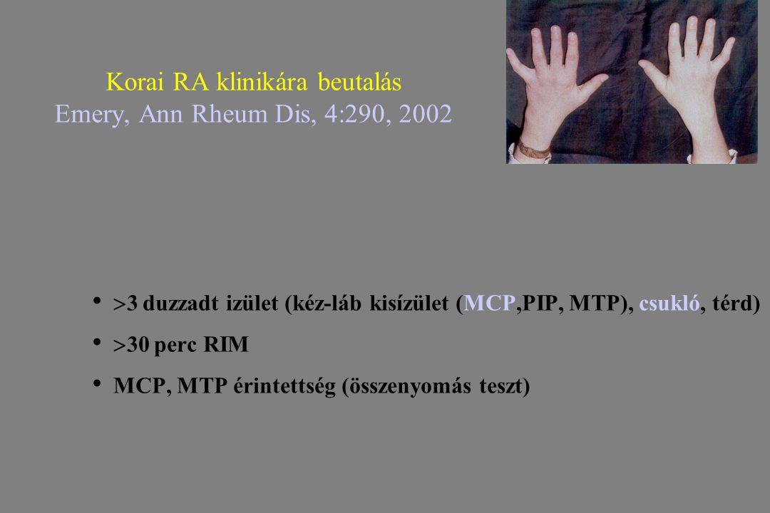 Korai RA klinikára beutalás Emery, Ann Rheum Dis, 4:290, 2002  3 duzzadt izület (kéz-láb kisízület (MCP,PIP, MTP), csukló, térd)  30 perc RIM MCP, M