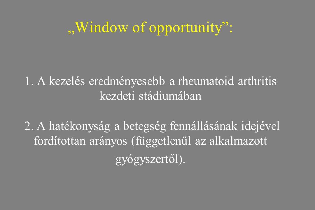 """""""Window of opportunity"""": 1. A kezelés eredményesebb a rheumatoid arthritis kezdeti stádiumában 2. A hatékonyság a betegség fennállásának idejével ford"""