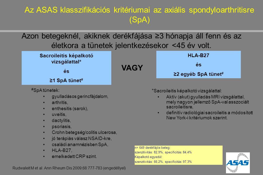 Az ASAS klasszifikációs kritériumai az axiális spondyloarthritisre (SpA) Rudwaleit M et al. Ann Rheum Dis 2009;68:777-783 (engedéllyel) Azon betegekné