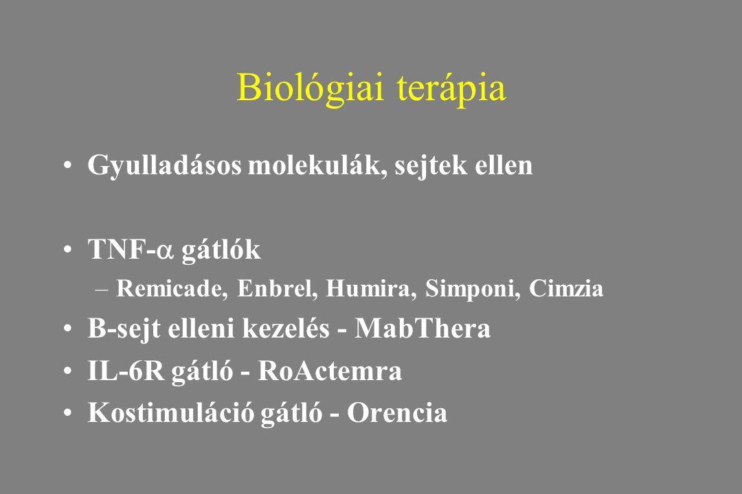 Biológiai terápia Gyulladásos molekulák, sejtek ellen TNF-  gátlók –Remicade, Enbrel, Humira, Simponi, Cimzia B-sejt elleni kezelés - MabThera IL-6R