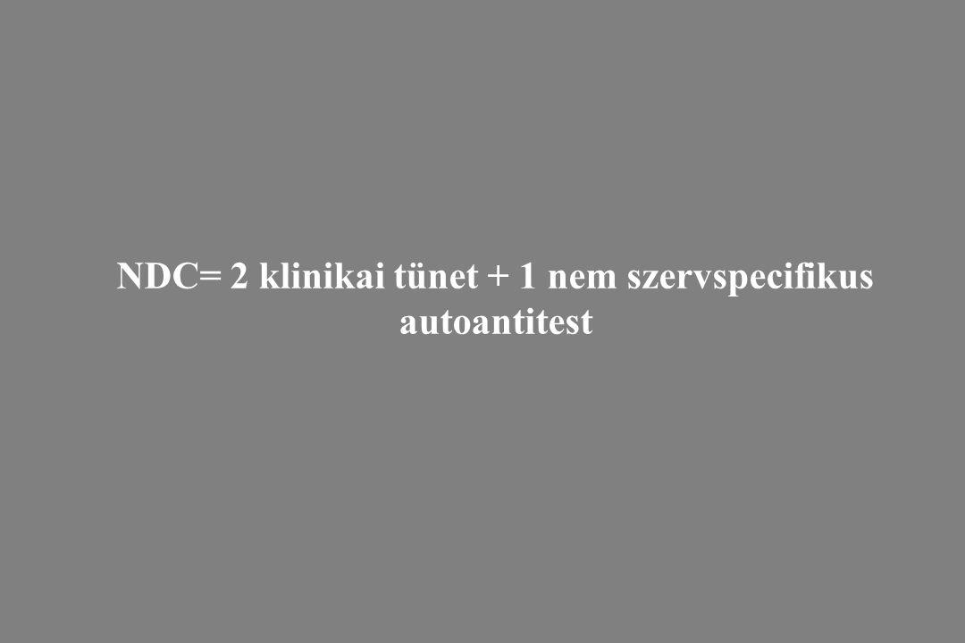 NDC= 2 klinikai tünet + 1 nem szervspecifikus autoantitest