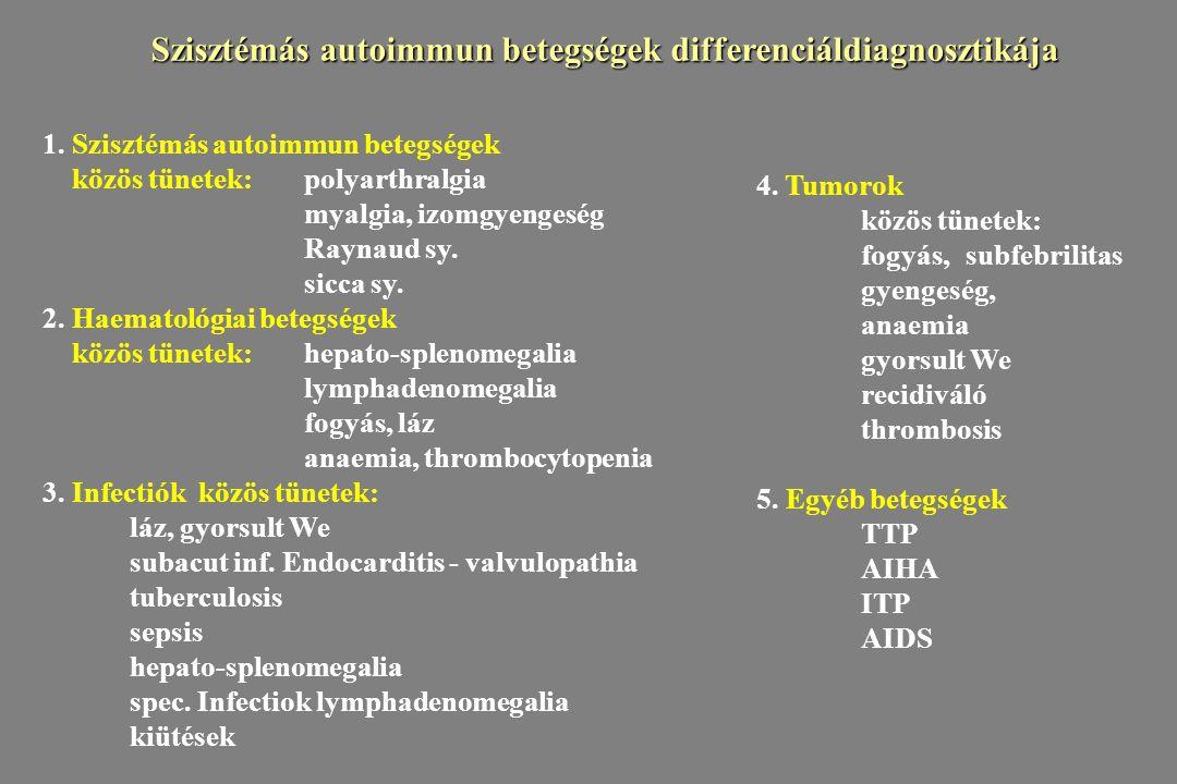 1. Szisztémás autoimmun betegségek közös tünetek:polyarthralgia myalgia, izomgyengeség Raynaud sy. sicca sy. 2. Haematológiai betegségek közös tünetek