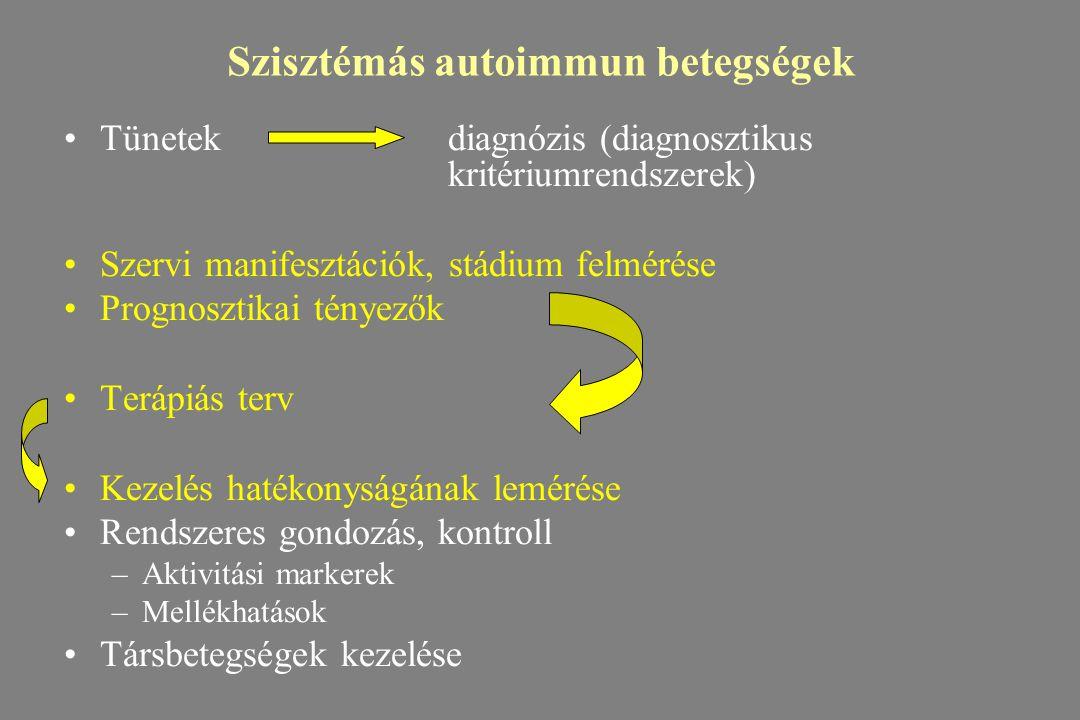 Szisztémás autoimmun betegségek Tünetekdiagnózis (diagnosztikus kritériumrendszerek) Szervi manifesztációk, stádium felmérése Prognosztikai tényezők T