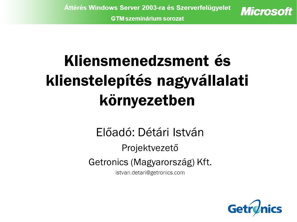"""Áttérés Windows Server 2003-ra és Szerverfelügyelet GTM szeminárium sorozat Áttérés Windows Server 2003-ra és Szerverfelügyelet GTM szeminárium sorozat Áttérés Windows Server 2003-ra és Szerverfelügyelet GTM szeminárium sorozat Rapid Deployment eXperience (RDX) Az RDX előnyei egy migrációs projekt során: –Idő –Költség (deployment, és migrációs költség) –Munkaidő kiesés Az RDX alkalmazásával jelentősen csökken a meghiúsulási kockázat A hagyományos eljárások sokkal több erőforrást igényelnek - alacsonyabb migrációs költséget az automatizált, és kis munkaigényű migrációs eljárások biztosítanak A hagyományos eljárások sokkal több ideig tartanak – az RDX rövid idő alatt eredményes Az eredmény nem csak egy """"desktop , hanem egy teljesen menedzselt munkakörnyezet Elősegíti a meglévő Select, és Enterprise Agreement-ek kihasználását hosszadalmas, és költséges migrációs projektek nélkül"""