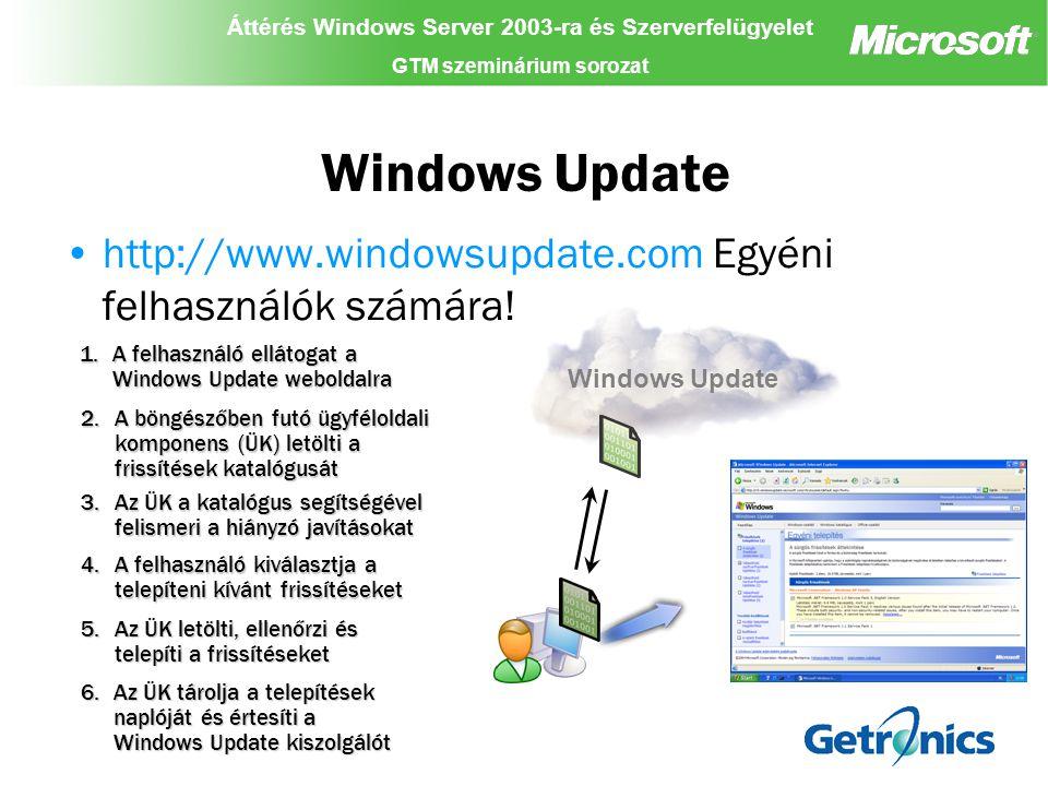 """Áttérés Windows Server 2003-ra és Szerverfelügyelet GTM szeminárium sorozat Áttérés Windows Server 2003-ra és Szerverfelügyelet GTM szeminárium sorozat Áttérés Windows Server 2003-ra és Szerverfelügyelet GTM szeminárium sorozat Software Update Services (SUS) """"Vállalati Windows Update Biztonsági-, és kritikus termékjavítások Pull technológia – a kapcsolatot kizárólag a kliens kezdeményezi Mi az előnye."""