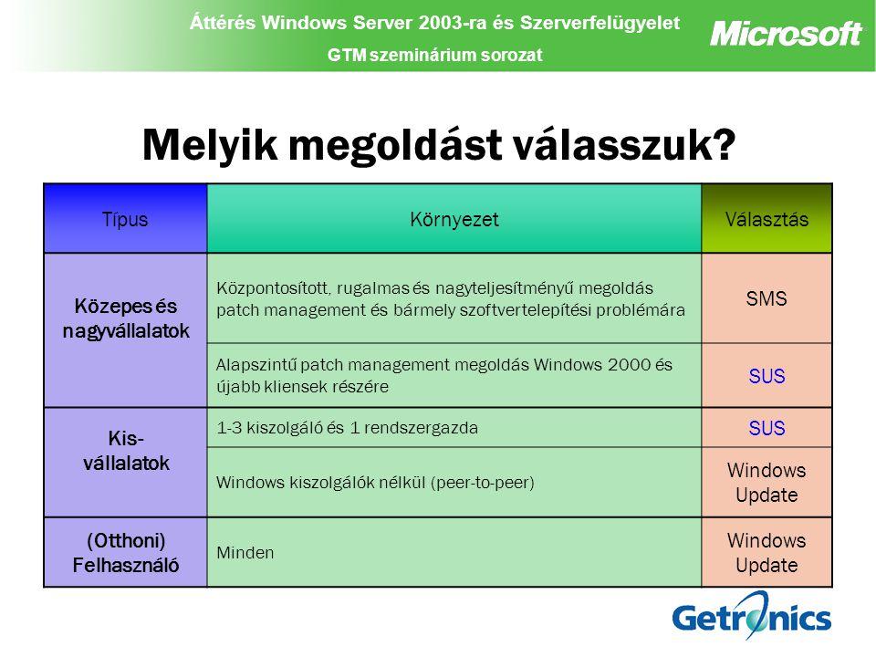 Áttérés Windows Server 2003-ra és Szerverfelügyelet GTM szeminárium sorozat Áttérés Windows Server 2003-ra és Szerverfelügyelet GTM szeminárium sorozat Áttérés Windows Server 2003-ra és Szerverfelügyelet GTM szeminárium sorozat Getronics Client Management System (GCMS) 2800 munkaállomás 2200 helyszín Rendszertelen GPRS, és dialup kapcsolat Nincs Active Directory Megoldás: –Windows service a kliensen –Web szerver (kommunikáció csak HTTP-n) –Menedzsment adatbázis Funkcionalitás: –Fájl letöltés –Script futatás –Registry szerkesztés