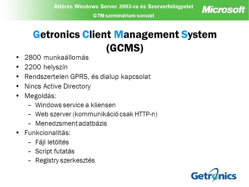 Áttérés Windows Server 2003-ra és Szerverfelügyelet GTM szeminárium sorozat Áttérés Windows Server 2003-ra és Szerverfelügyelet GTM szeminárium sorozat Áttérés Windows Server 2003-ra és Szerverfelügyelet GTM szeminárium sorozat Köszönjük a figyelmüket!