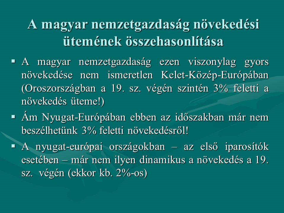 A magyar nemzetgazdaság növekedési ütemének összehasonlítása  A magyar nemzetgazdaság ezen viszonylag gyors növekedése nem ismeretlen Kelet-Közép-Európában (Oroszországban a 19.