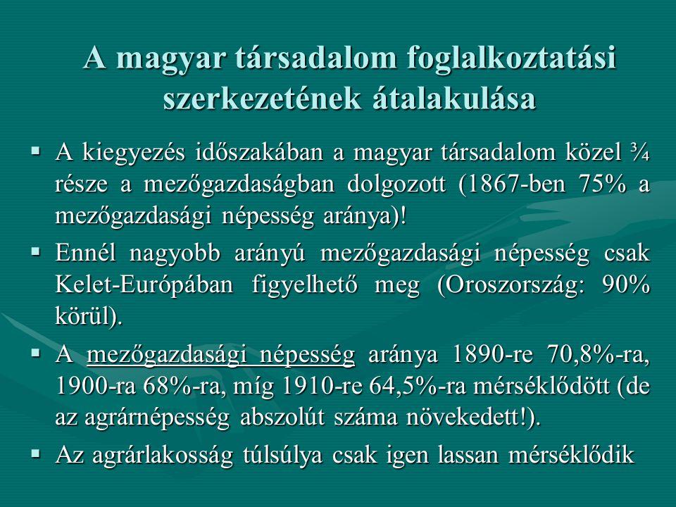 A magyar társadalom foglalkoztatási szerkezetének átalakulása  A kiegyezés időszakában a magyar társadalom közel ¾ része a mezőgazdaságban dolgozott (1867-ben 75% a mezőgazdasági népesség aránya).