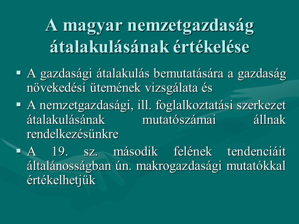 A magyar nemzetgazdaság átalakulásának értékelése  A gazdasági átalakulás bemutatására a gazdaság növekedési ütemének vizsgálata és  A nemzetgazdasági, ill.