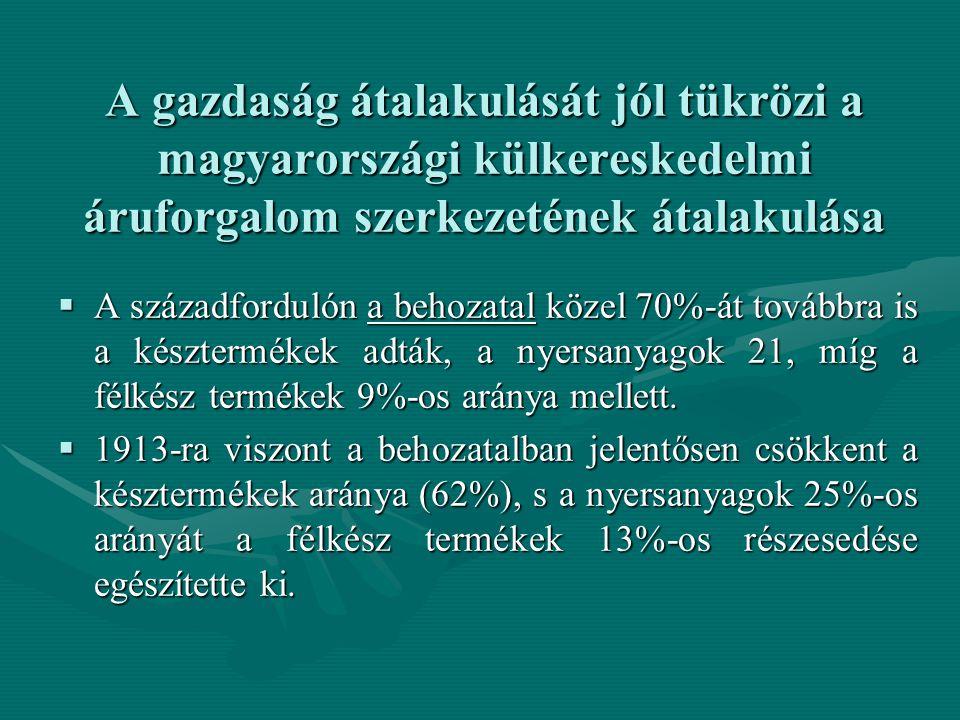 A gazdaság átalakulását jól tükrözi a magyarországi külkereskedelmi áruforgalom szerkezetének átalakulása  A századfordulón a behozatal közel 70%-át