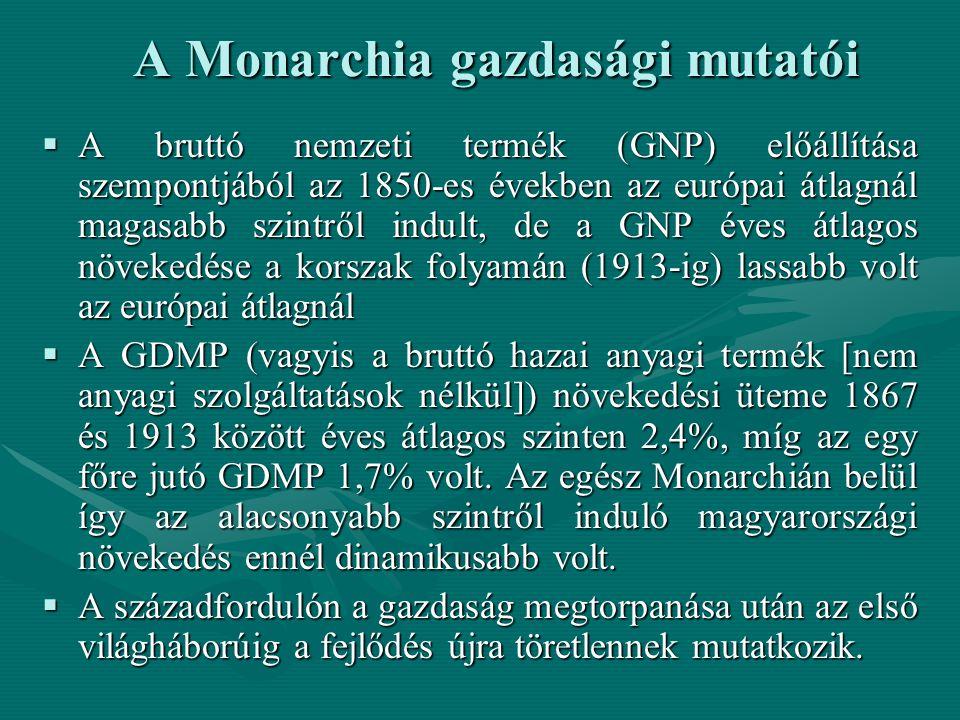 A Monarchia gazdasági mutatói  A bruttó nemzeti termék (GNP) előállítása szempontjából az 1850-es években az európai átlagnál magasabb szintről indult, de a GNP éves átlagos növekedése a korszak folyamán (1913-ig) lassabb volt az európai átlagnál  A GDMP (vagyis a bruttó hazai anyagi termék [nem anyagi szolgáltatások nélkül]) növekedési üteme 1867 és 1913 között éves átlagos szinten 2,4%, míg az egy főre jutó GDMP 1,7% volt.