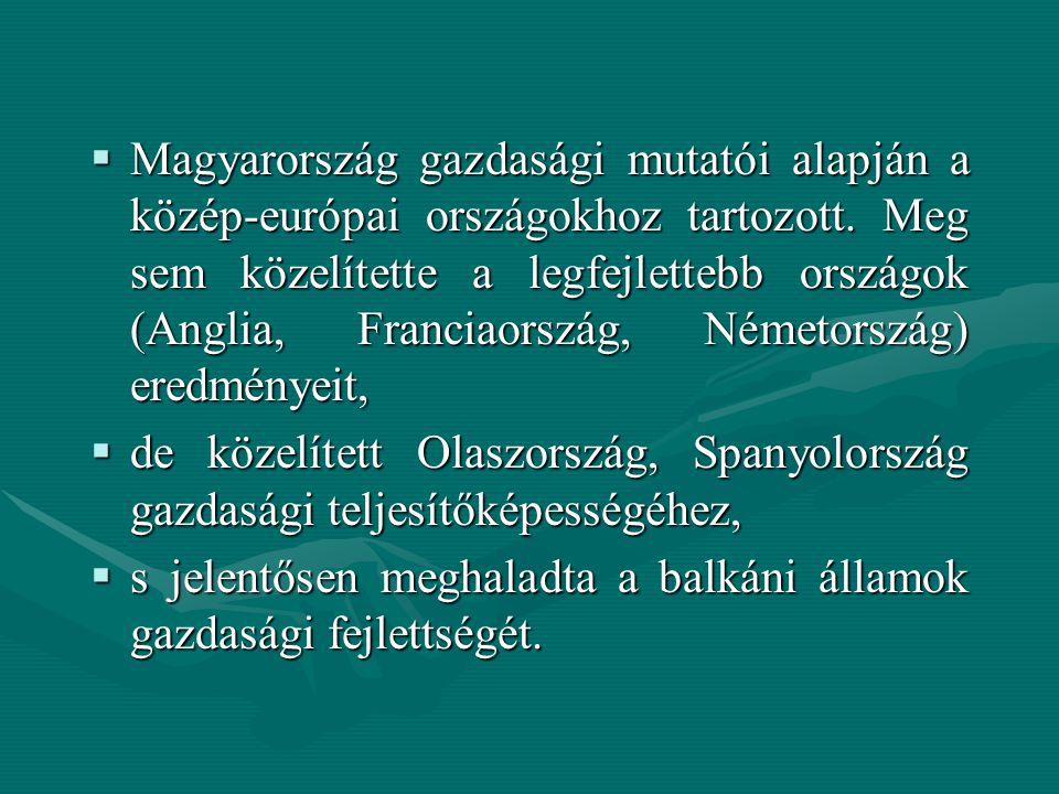  Magyarország gazdasági mutatói alapján a közép-európai országokhoz tartozott. Meg sem közelítette a legfejlettebb országok (Anglia, Franciaország, N