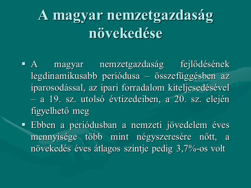 A magyar nemzetgazdaság növekedése  A magyar nemzetgazdaság fejlődésének legdinamikusabb periódusa – összefüggésben az iparosodással, az ipari forradalom kiteljesedésével – a 19.