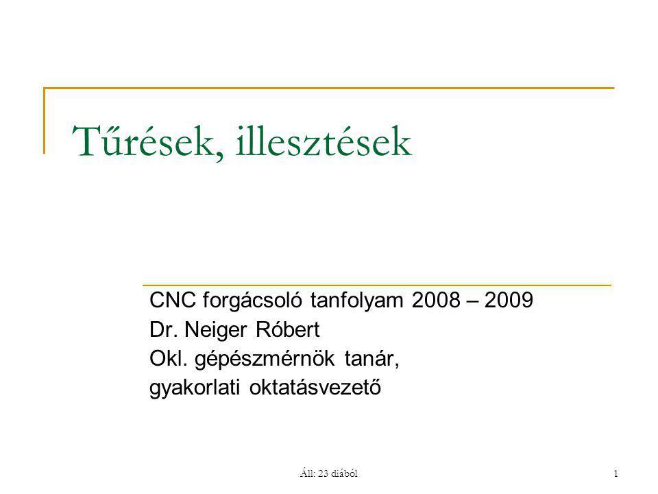 Áll: 23 diából1 Tűrések, illesztések CNC forgácsoló tanfolyam 2008 – 2009 Dr. Neiger Róbert Okl. gépészmérnök tanár, gyakorlati oktatásvezető