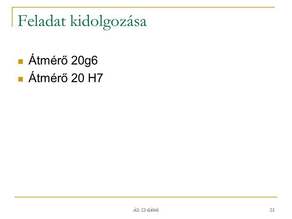 Áll: 23 diából 23 Feladat kidolgozása Átmérő 20g6 Átmérő 20 H7
