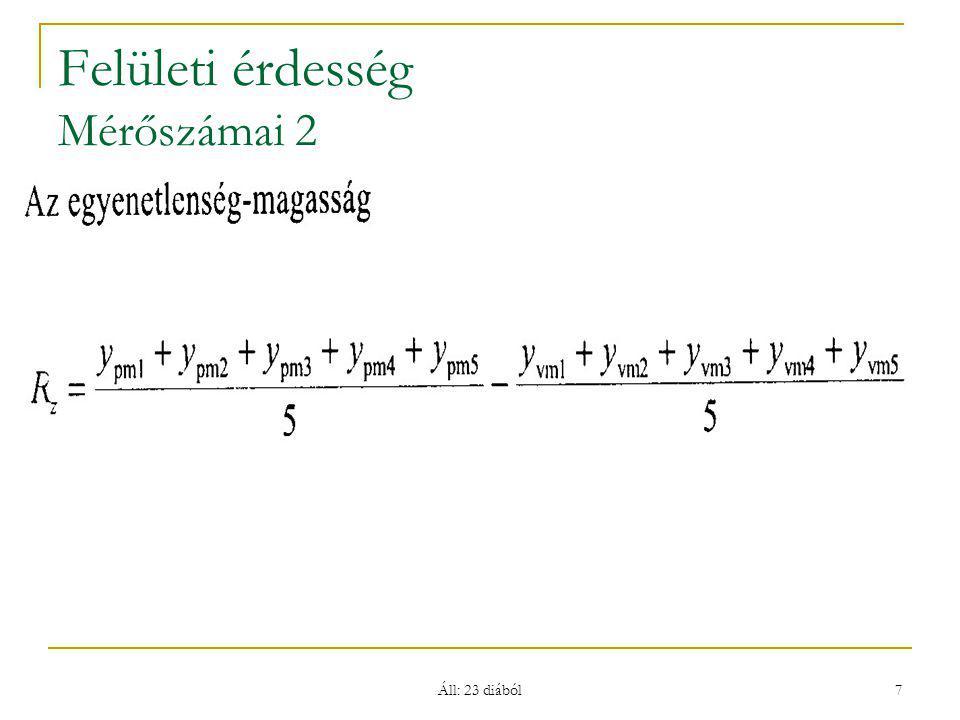 Áll: 23 diából 8 Felületi érdesség – Ra Számértékei (Ra ≈ Rz/4 !)