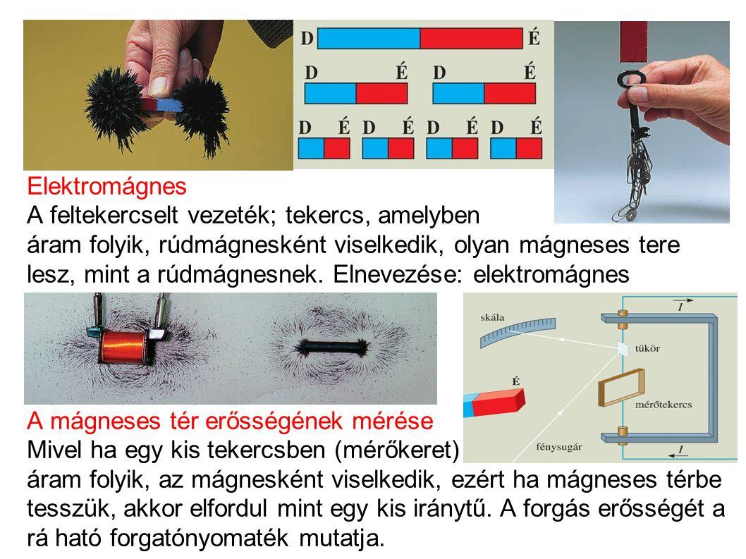 Elektromágnes A feltekercselt vezeték; tekercs, amelyben áram folyik, rúdmágnesként viselkedik, olyan mágneses tere lesz, mint a rúdmágnesnek.