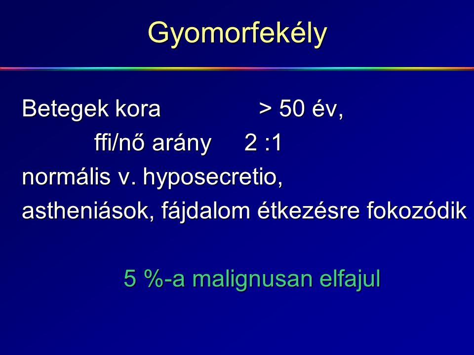 Gyomorfekély Betegek kora > 50 év, ffi/nő arány 2 :1 ffi/nő arány 2 :1 normális v. hyposecretio, astheniások, fájdalom étkezésre fokozódik 5 %-a malig