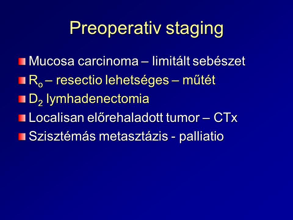 Preoperativ staging Mucosa carcinoma – limitált sebészet R o – resectio lehetséges – műtét D 2 lymhadenectomia Localisan előrehaladott tumor – CTx Szi