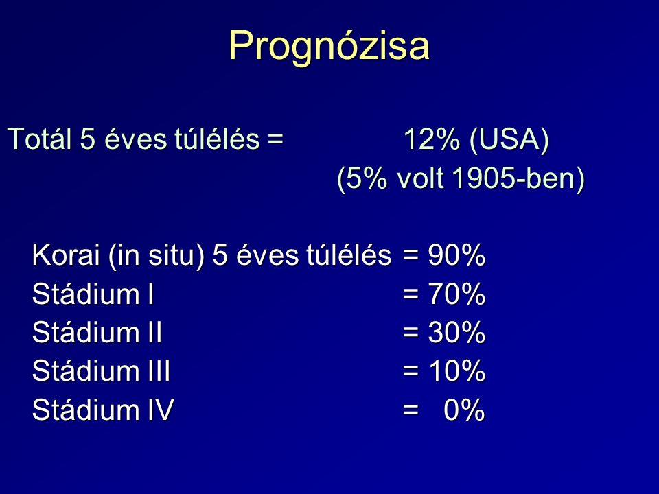 Prognózisa Totál 5 éves túlélés =12% (USA) (5% volt 1905-ben) Korai (in situ) 5 éves túlélés= 90% Stádium I= 70% Stádium II= 30% Stádium III= 10% Stád