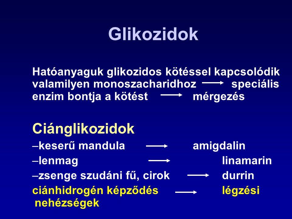 Glikozidok Hatóanyaguk glikozidos kötéssel kapcsolódik valamilyen monoszacharidhoz speciális enzim bontja a kötést mérgezés Ciánglikozidok –keserű man
