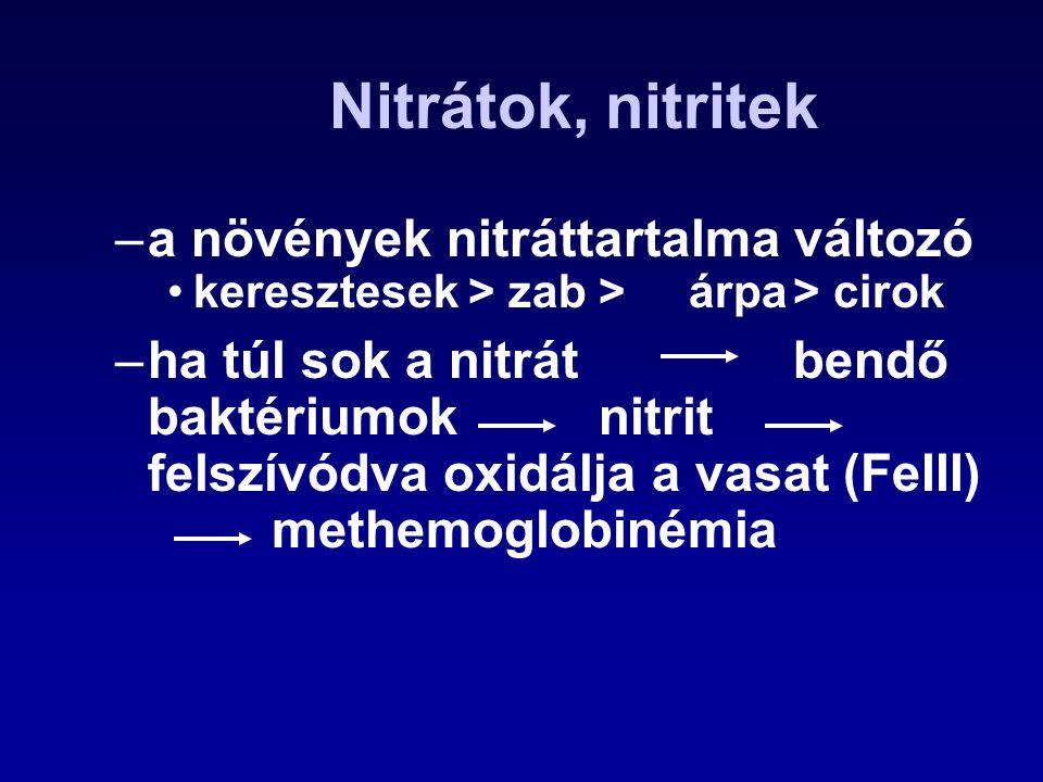 Nitrátok, nitritek –a növények nitráttartalma változó keresztesek > zab >árpa> cirok –ha túl sok a nitrát bendő baktériumok nitrit felszívódva oxidálj