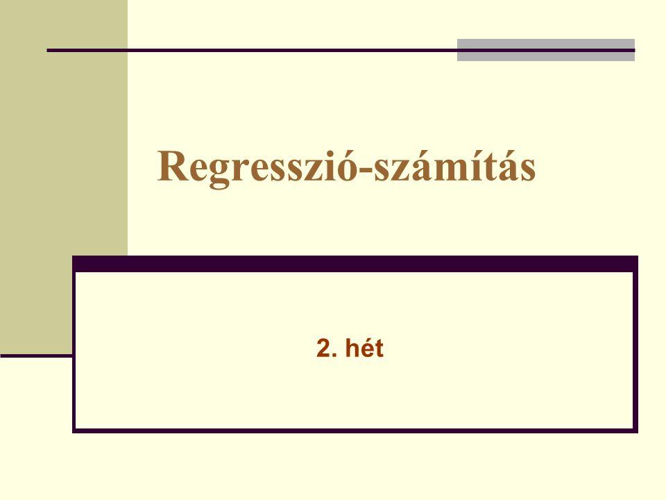 Mintapélda: Néhány család jövedelem és fogyasztás értékei Rendelkezésre álló jövedelem (ezer Ft/fő) x változó Fogyasztásértéke (ezer Ft/fő) y változó 39,838,6 43,144,4 46,240,4 49,745,9 52,850,5 54,844,8 56,149,5 61,653,2 59,751,4 ln xln y 3,683,65 3,763,79 3,833,7 3,913,83 3,973,92 4,03,8 4,033,9 4,123,97 4,093,94
