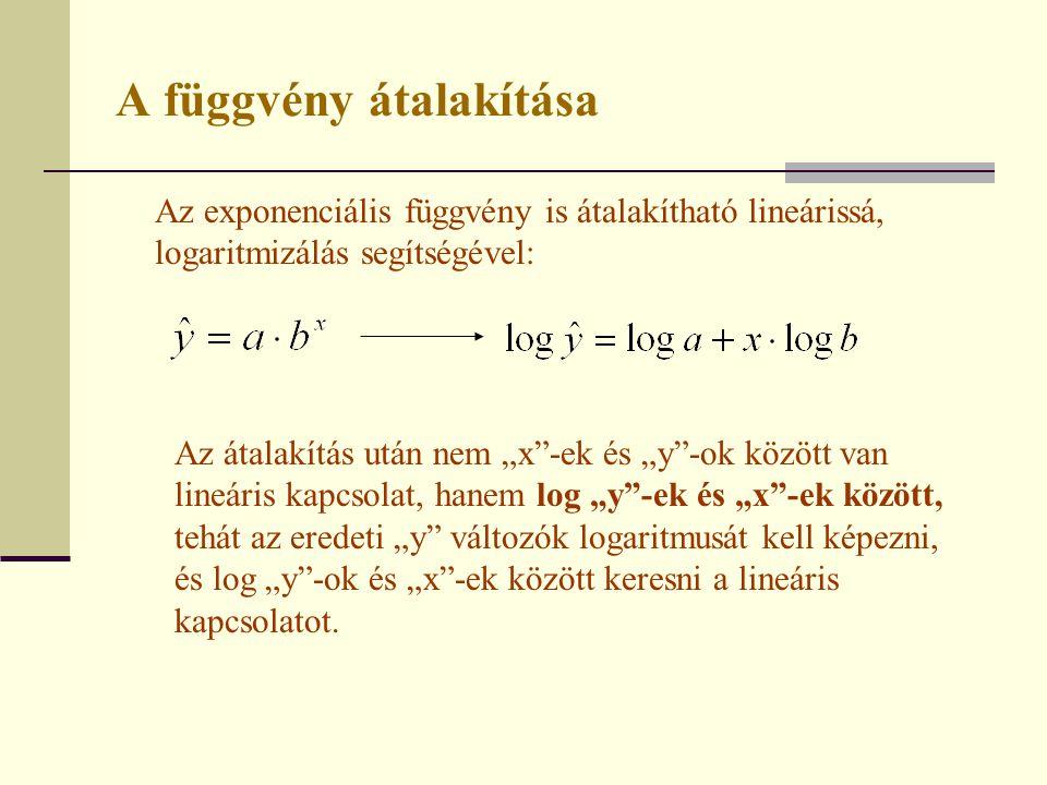 """A függvény átalakítása Az exponenciális függvény is átalakítható lineárissá, logaritmizálás segítségével: Az átalakítás után nem """"x""""-ek és """"y""""-ok közö"""