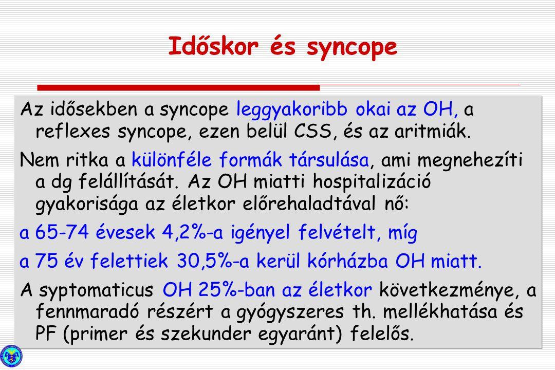 Az idősekben a syncope leggyakoribb okai az OH, a reflexes syncope, ezen belül CSS, és az aritmiák. Nem ritka a különféle formák társulása, ami megneh